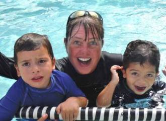 Miss Becky with swim students