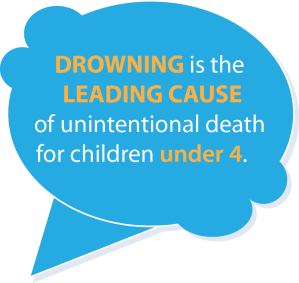 Drowning is the leading cause of unintentional death for children under 4.